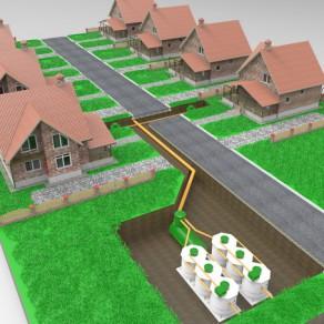 Размещение под землей локальной сети автономной канализации для поселка Kolo Ilma 150